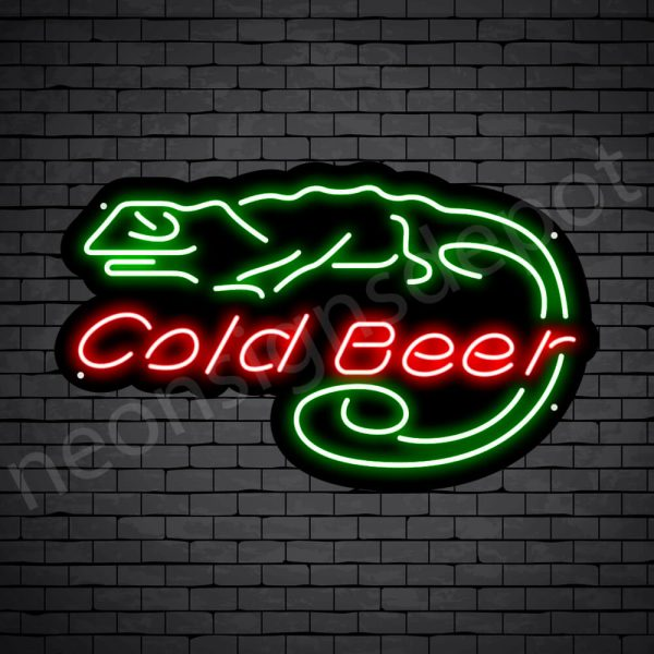 Cold Beer Lizard Neon Bar Sign - Black