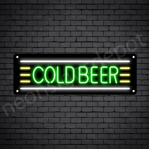 Cold Beer Neon Sign - Black