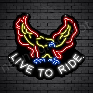 Live To Ride Eagle Neon Sign - Black