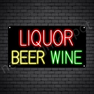 Liquor Beer Wine Neon Sign - Black