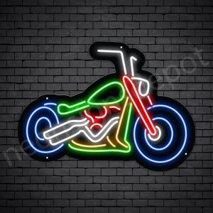 Motorcycle Neon Sign Big Bike Chopper Black - 30x22