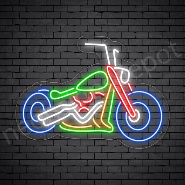 Motorcycle Neon Sign Big Bike Chopper Transparent - 30x22