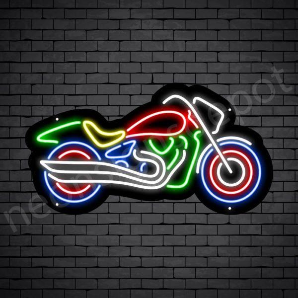 Motorcycle Neon Sign Big Bike Black - 24x13