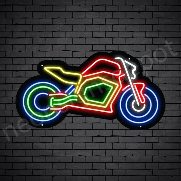 Motor Neon Sign Motor Bike Black - 24x13