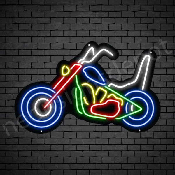Motorcycle Neon Sign Motor Bike Chopper 24x15