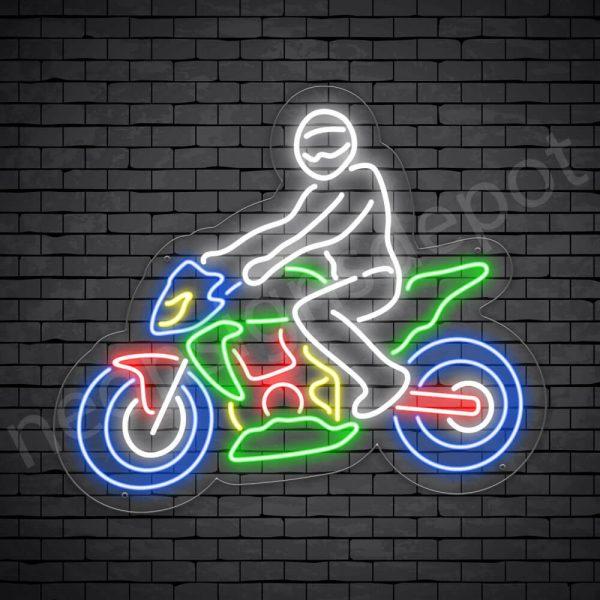 Motorcycle Neon Sign Motor Bike Riders Transparent - 24x21