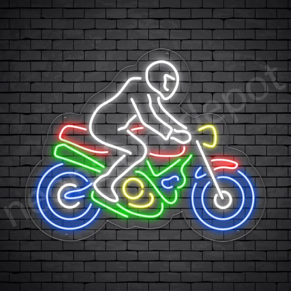 Motorcycle Neon Sign Motor Riders Bike Transparent - 24x18