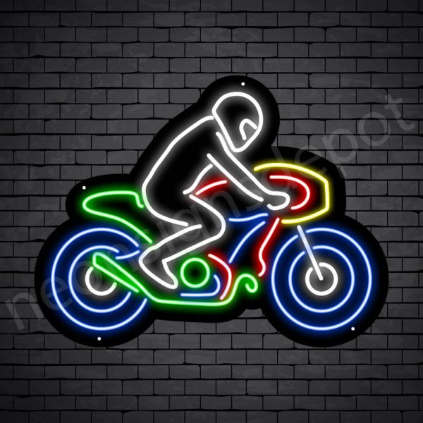 Motorcycle Neon Sign Motor Riders Bike Style Black - 23x18