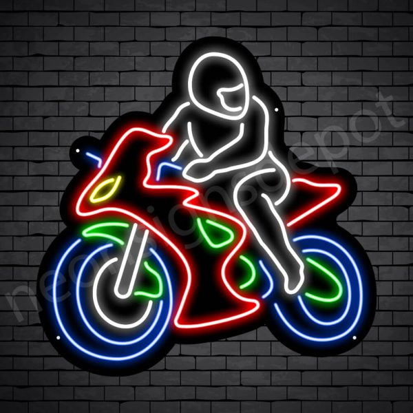 Motorcycle Neon Sign Motorcycle Bike Riders Black - 24x24