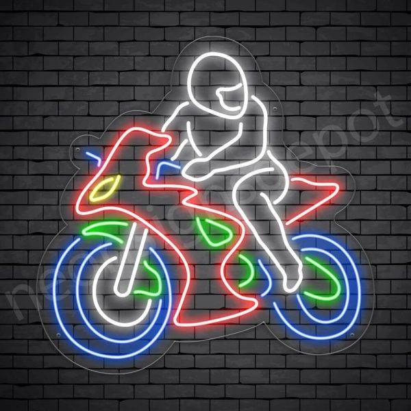 Motorcycle Neon Sign Motorcycle Bike Riders Transparent 24x24