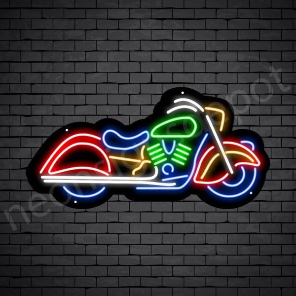 Motorcycle Neon Sign Riders Bike Black - 24x12