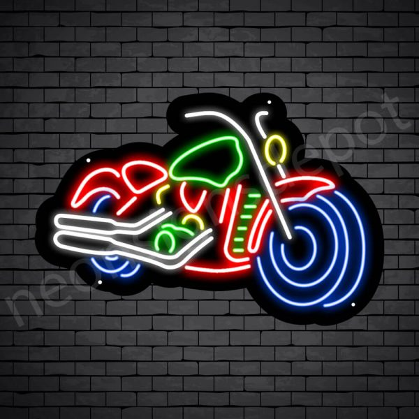 Motorcycle Neon Sign Riders Big Bike Black - 24x16
