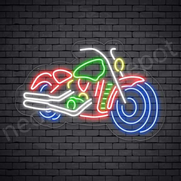 Motorcycle Neon Sign Riders Big Bike Transparent - 24x16
