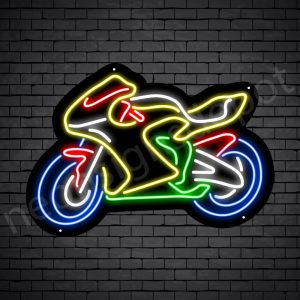 Motorcycle Neon Sign Yellow Big Bike 24x17