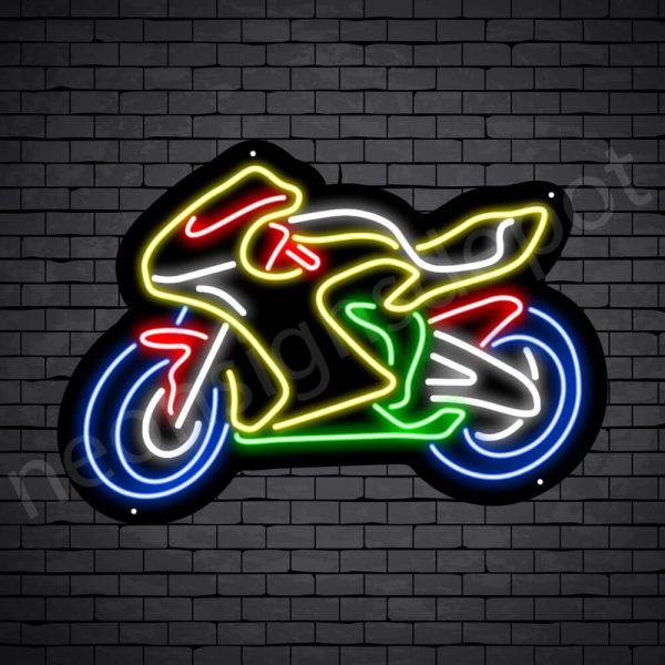Motorcycle Neon Sign Yellow Big Bike 24x17