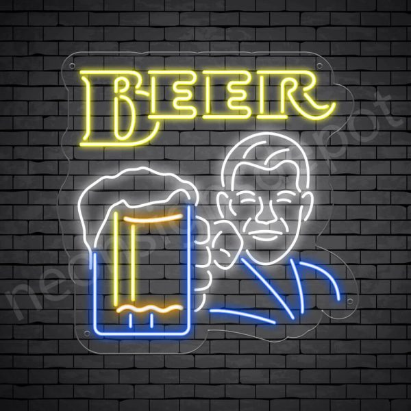 Man Holding Beer Glass Neon Bar Sign - Transparent