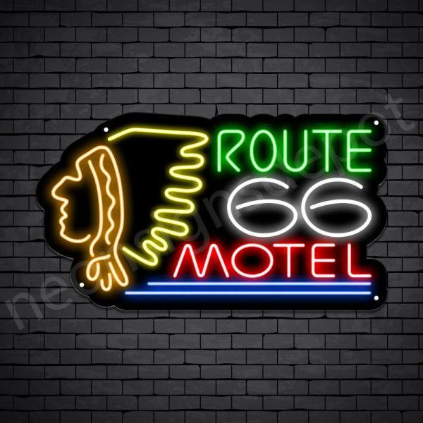 Route 66 Motel Neon Sign - Black