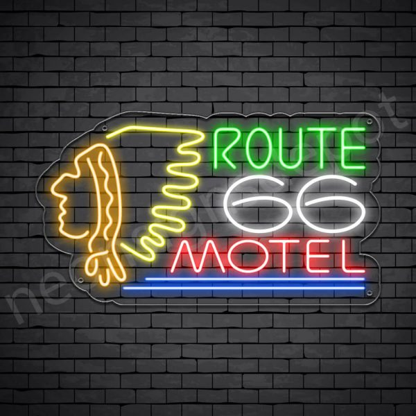 Route 66 Motel Neon Sign - Transparent