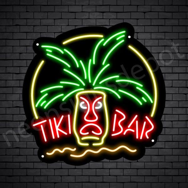 Tiki Bar Mask Neon Bar Sign - Black