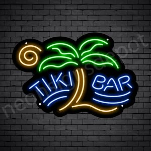 Tiki Bar Palm Neon Bar Sign - Black