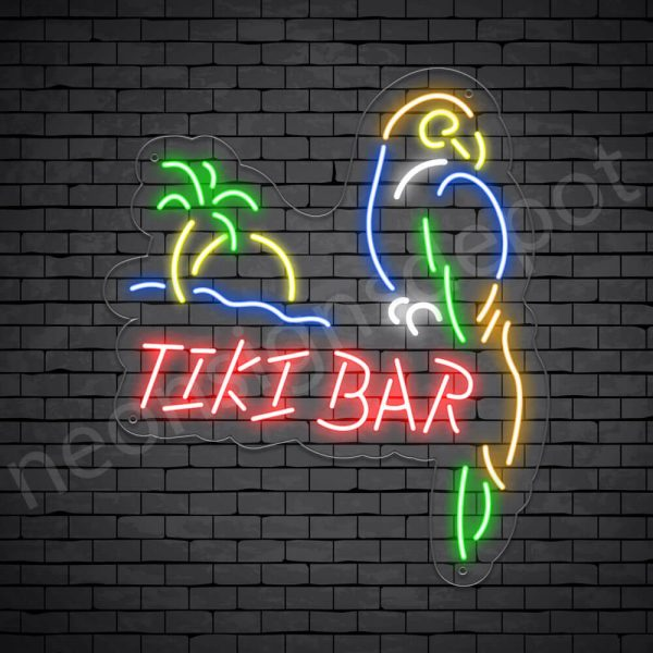 Tiki Bar Parrot Neon Bar Sign - Transparent