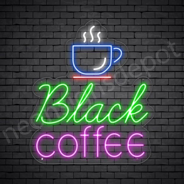 Coffee Neon Sign Black Coffee Transparent - 21x24