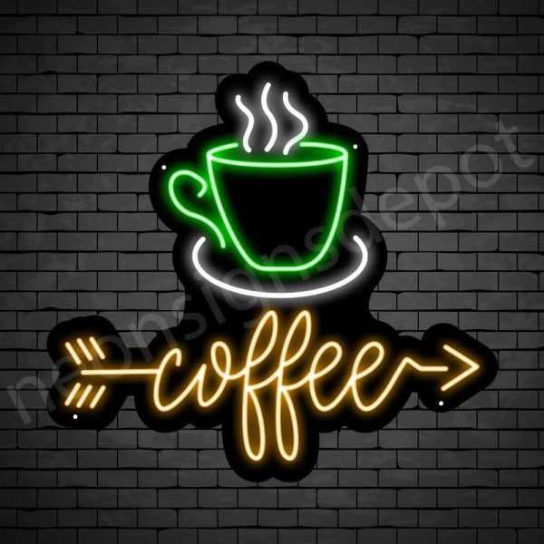 Coffee Neon Sign Coffee Arrow Black - 24x22