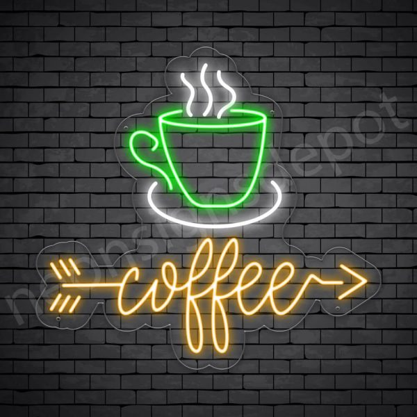 Coffee Neon Sign Coffee Arrow Transparent - 24x22
