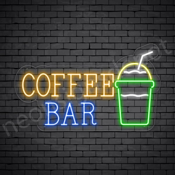 Coffee Neon Sign Coffee Bar Transparent 24x14