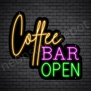 Coffee Neon Sign Coffee Bar Open Black 24x22