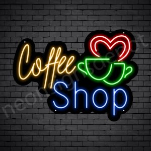 Coffee Neon Sign Coffee Couple Cup Black 24x16
