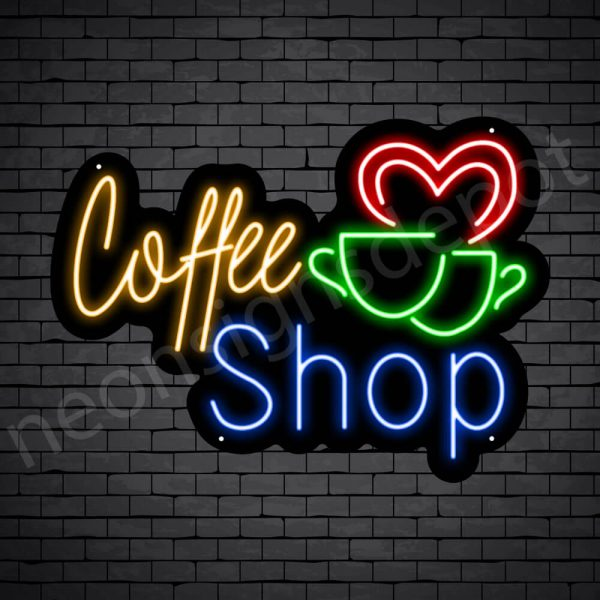Coffee Neon Sign Coffee Couple Cup Black 24x16