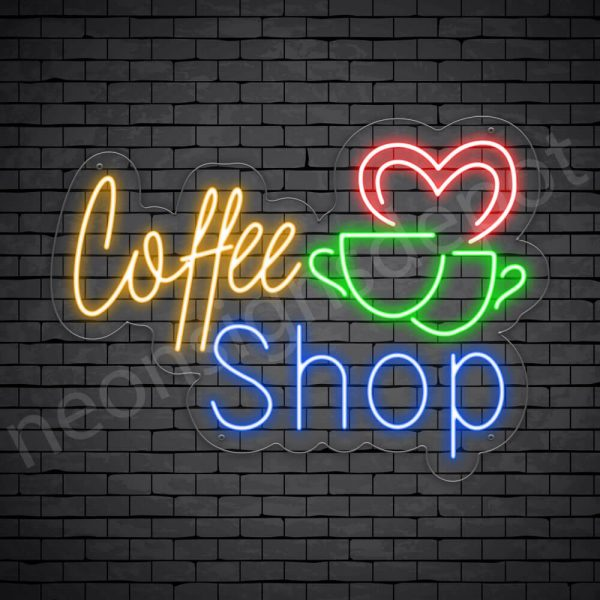 Coffee Neon Sign Coffee Couple Cup Transparent 24x16