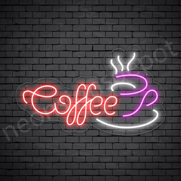 Coffee Neon Sign Coffee Cup Transparent 24x14