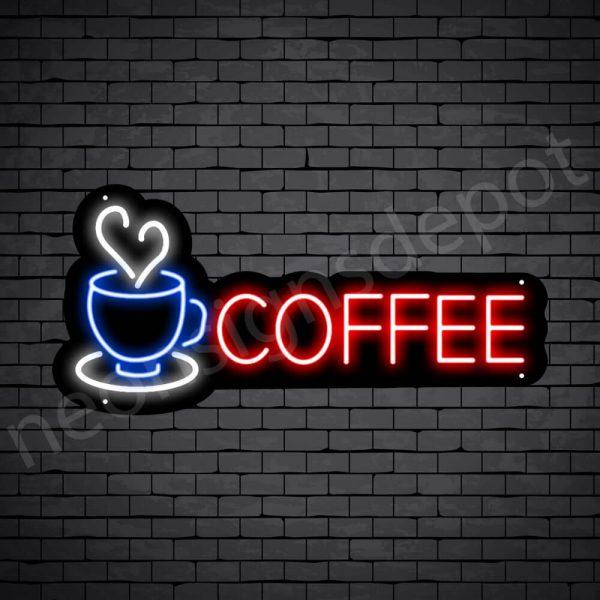 Coffee Neon Sign Coffee Heart Black 24x11