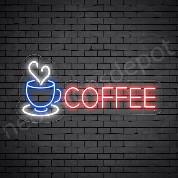 Coffee Neon Sign Coffee Heart Transparent 24x11