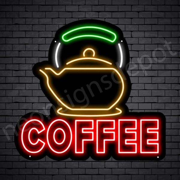Coffee Neon Sign Coffee Heater Black 24x22