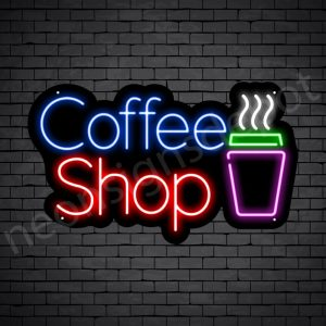 Coffee Neon Sign Coffee Shop Black 24x14