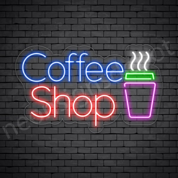 Coffee Neon Sign Coffee Shop Transparent 24x14