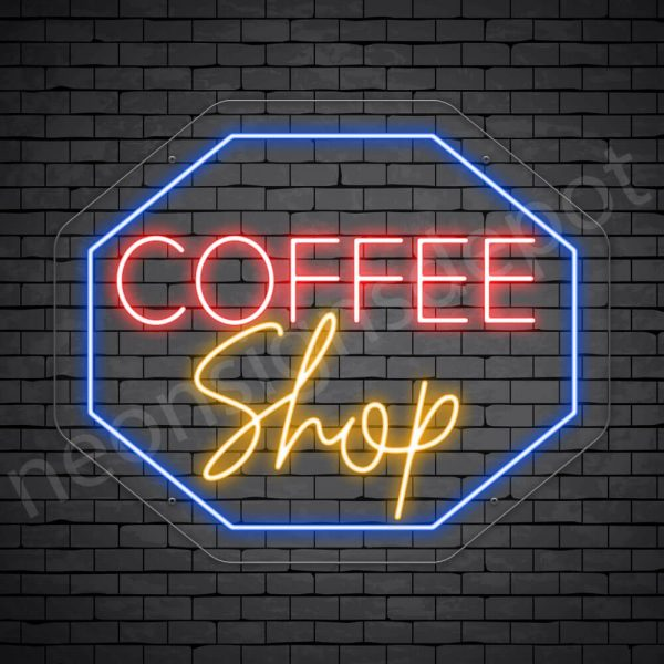 Coffee Neon Sign Coffee Shop Octagon Transparent 24x20