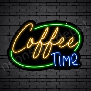 Coffee Neon Sign Coffee Time Black 24x16