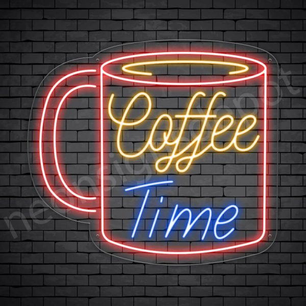 Coffee Neon Sign Coffee Time Mug Transparent 24x22