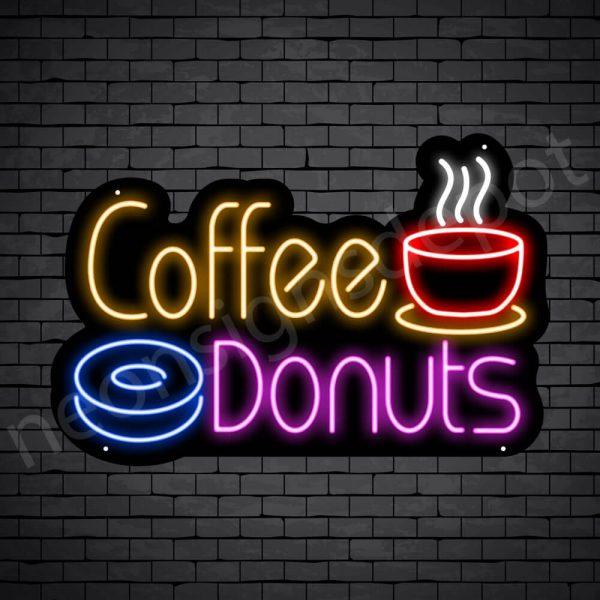 Coffee Neon Sign Hot Coffee & Donuts Black 24x16