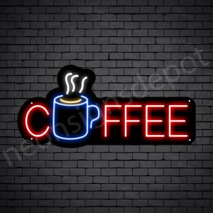 Coffee Neon Sign Hot Coffee Mug Black 24x11