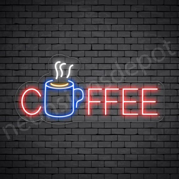 Coffee Neon Sign Hot Coffee Mug Transparent 24x11