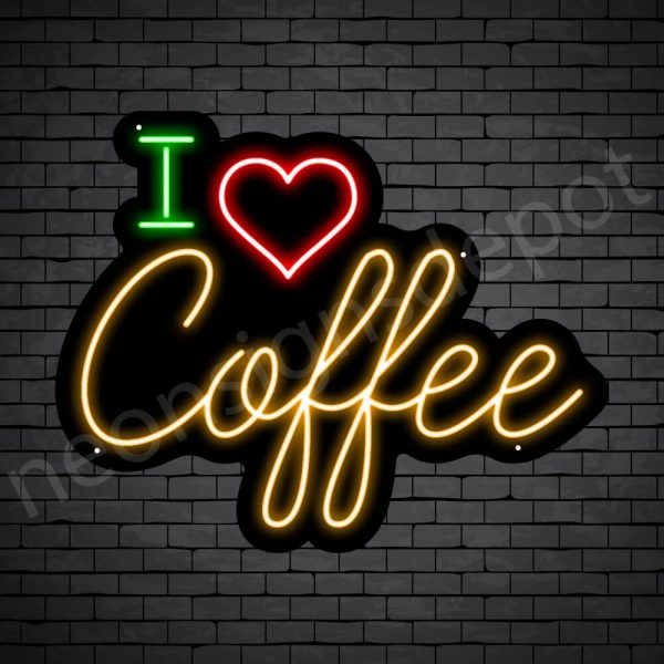 Coffee Neon Sign I Love Coffee Black - 24x19