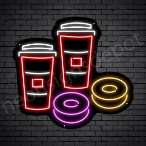 Coffee Neon Sign Iced Coffee & Donuts Black - 24x22