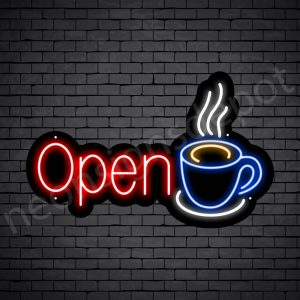 Coffee Neon Sign Open Cup Black 24x15