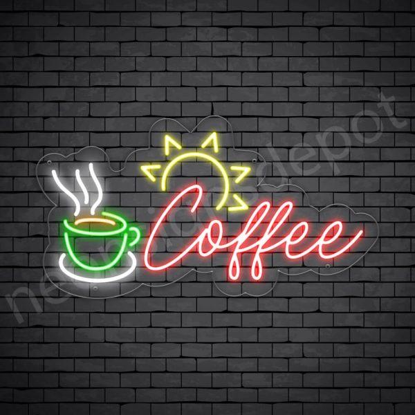 Coffee Neon Sign Sun Light Coffee Transparent - 24x13