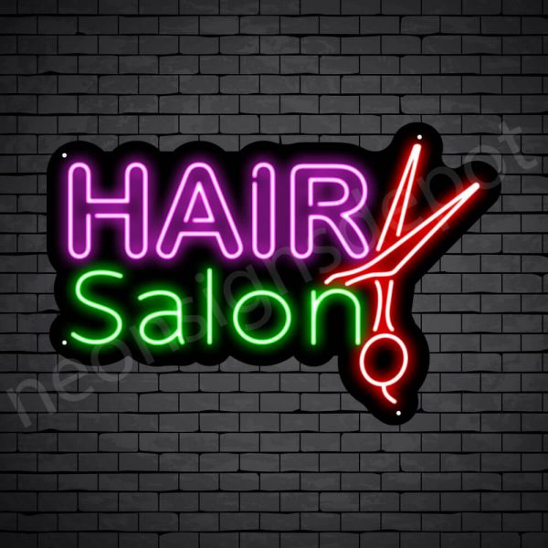 Hair Salon Neon Sign 20L Hair Salon Scissor Black 24x16